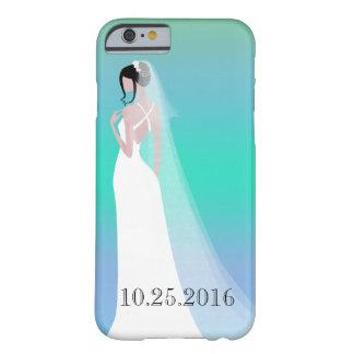 Día de boda hermoso de la novia funda de iPhone 6 barely there