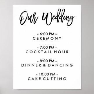 Día de boda indicado con letras de la mano póster