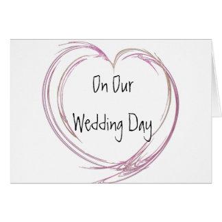 Día de boda rosado del corazón del fractal felicitacion