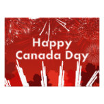 Día de Canadá con los fuegos artificiales y las ho