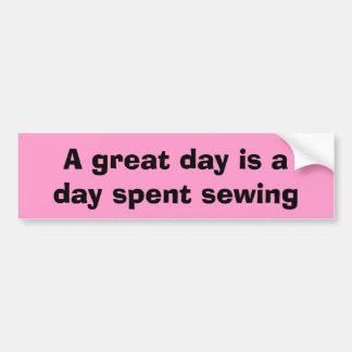 día de costura pegatina para auto