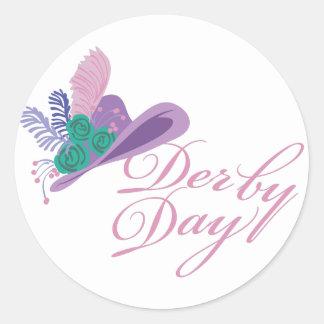 Día de Derby del gorra de las señoras de Kentucky Pegatina Redonda