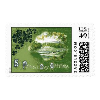 Día de Emerald Isle St Patrick de los tréboles del Timbres Postales