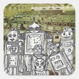 Día de fiesta 10 del robot pegatina cuadrada