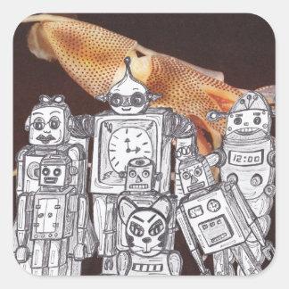 Día de fiesta 11 del robot pegatina cuadrada
