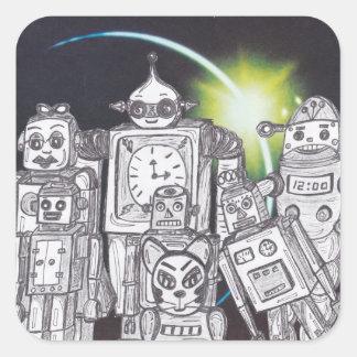 Día de fiesta 13 del robot pegatina cuadrada