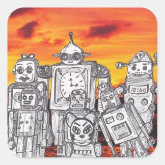 Día de fiesta 3 del robot pegatina cuadrada
