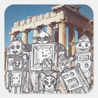 Día de fiesta 4 del robot pegatina cuadrada