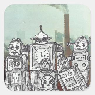 Día de fiesta 6 del robot pegatina cuadrada
