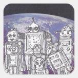Día de fiesta 7 del robot pegatina cuadrada