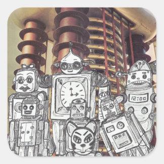 Día de fiesta 8 del robot pegatina cuadrada