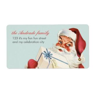 Día de fiesta alegre del rojo azul de Santa del na Etiquetas De Envío