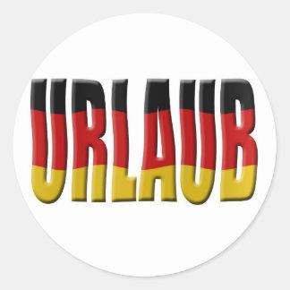 Día de fiesta alemán de la bandera de Urlaub Etiqueta Redonda