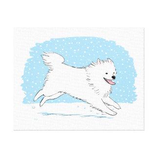 Día de fiesta americano del perro esquimal de la n impresión en lienzo estirada
