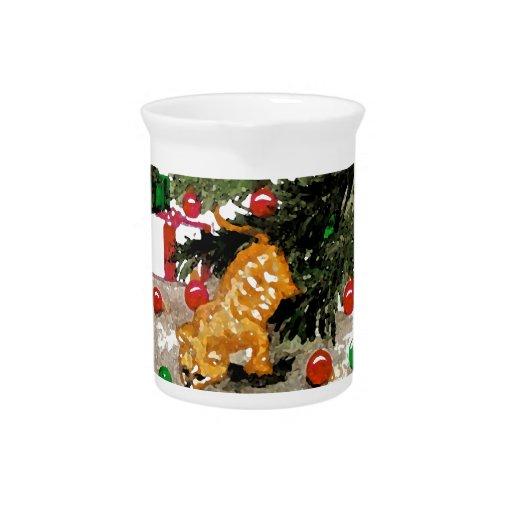 Día de fiesta anaranjado del árbol de navidad del  jarron