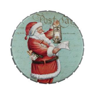 Día de fiesta antiguo azul de Papá Noel del Frascos De Dulces