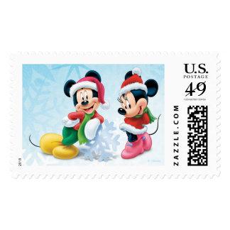 Día de fiesta azul Mickey y Minnie Estampilla