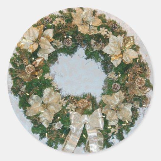 Día de fiesta ChristmasWreath Pegatina Redonda