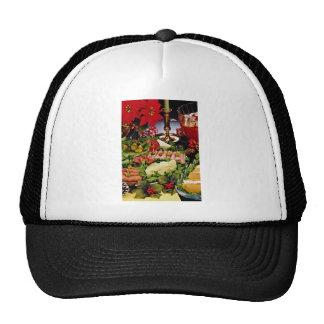 Día de fiesta con el disco de la tienda de delicat gorras de camionero