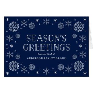 Día de fiesta corporativo de los copos de nieve tarjeta de felicitación