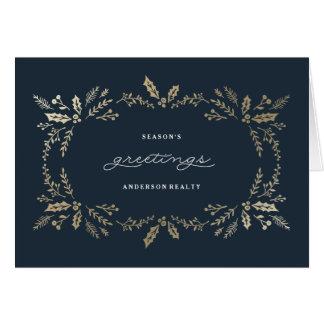 Día de fiesta corporativo del invierno de oro tarjeta de felicitación