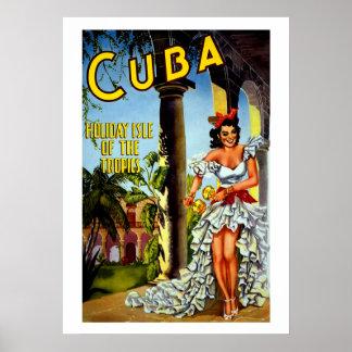 Día de fiesta cubano de las zonas tropicales del póster
