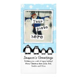 Día de fiesta de cuatro pingüinos tarjetas fotográficas personalizadas