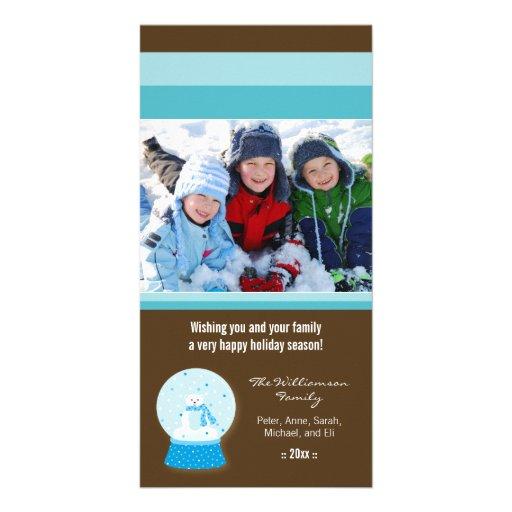 Día de fiesta de encargo Photocard de Snowglobe de Plantilla Para Tarjeta De Foto