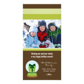Día de fiesta de encargo Photocard de Snowglobe Tarjeta Fotográfica Personalizada
