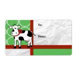 Día de fiesta de Holstein - dibujo animado de la v Etiqueta De Envío