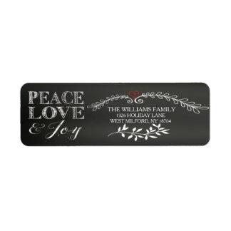 Día de fiesta de la alegría del amor de la paz de etiqueta de remite