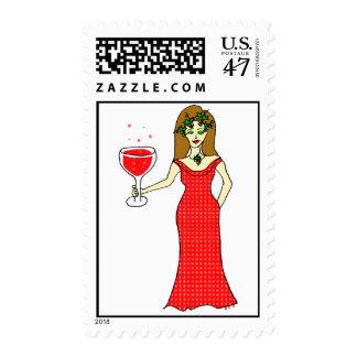 Día de fiesta de la diosa del vino espumoso estampilla