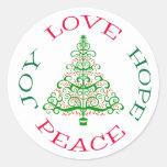 Día de fiesta de la esperanza del árbol de navidad pegatina redonda