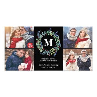 Día de fiesta de la foto del monograma 4 de la tarjeta personal con foto