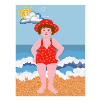 Día de fiesta de la playa tarjeta postal