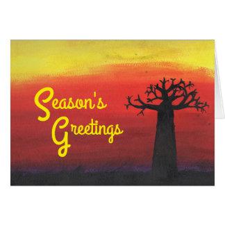 Día de fiesta de la puesta del sol del baobab tarjeta pequeña