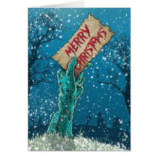 Día de fiesta de las Felices Navidad del zombi Tarjeta De Felicitación