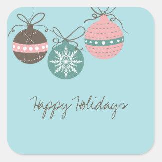 Día de fiesta de los ornamentos del navidad pegatina cuadrada