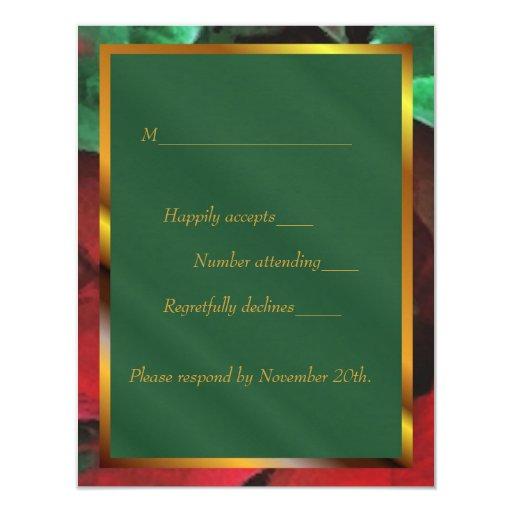 """Día de fiesta de los Poinsettias de la acuarela Invitación 4.25"""" X 5.5"""""""