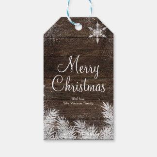 Día de fiesta de madera del navidad del invierno etiquetas para regalos