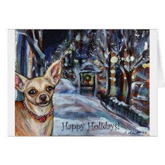 Día de fiesta de Navidad de la chihuahua Tarjeta De Felicitación