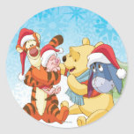 Día de fiesta de Winnie the Pooh y de los amigos Pegatinas Redondas