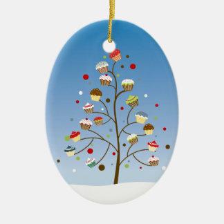 Día de fiesta del árbol de la magdalena adorno navideño ovalado de cerámica