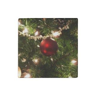 Día de fiesta del árbol de navidad imán de piedra