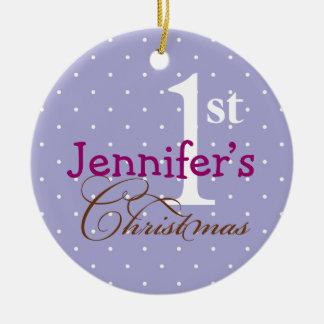 Día de fiesta del bebé conocido púrpura de los adorno navideño redondo de cerámica