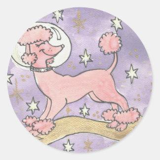Día de fiesta del caniche rosado cósmico pegatina redonda