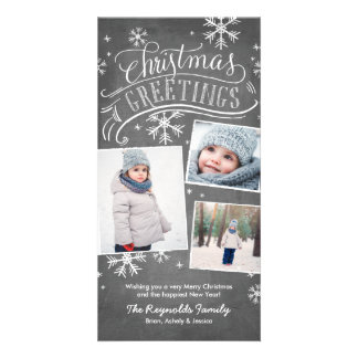 Día de fiesta del copo de nieve de los saludos tarjetas fotográficas personalizadas