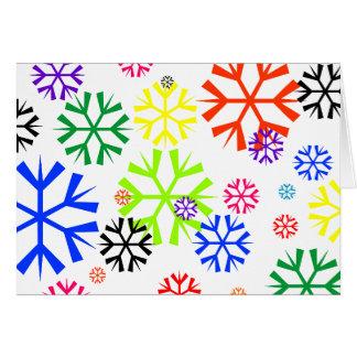Día de fiesta del copo de nieve del arco iris tarjeton