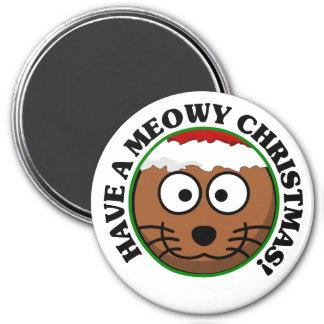 Día de fiesta del gato: Tenga navidad de un Meowy Imán Redondo 7 Cm