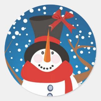 Día de fiesta del muñeco de nieve pegatina redonda